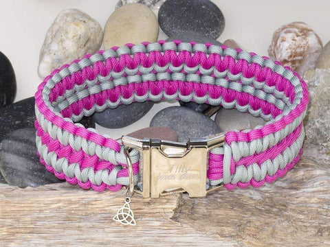 Dark Pink & Silver Grey Apollo Paracord Dog Collar