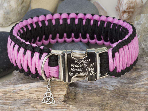 Pink and Black King Cobra Style Paracord Dog Collar