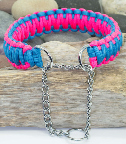Martingale Dog Collar - Sky Blue & Dark Pink