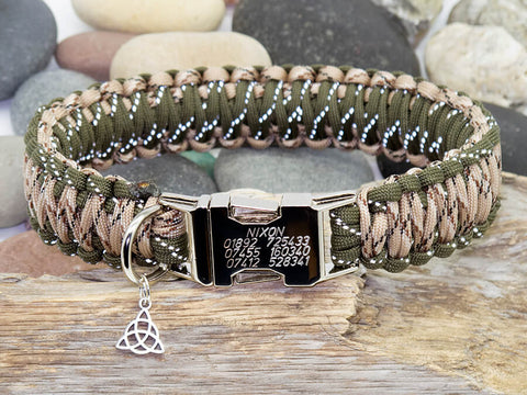 Reflective Army Green & Desert Camo Paracord Dog Collar