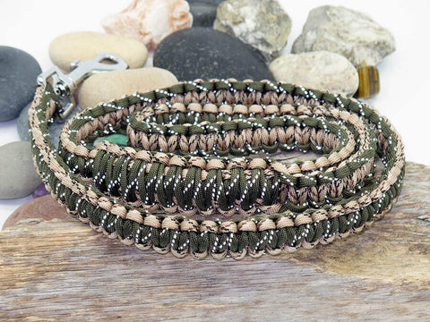 Reflective Army Green & Desert Camo Paracord Dog Lead