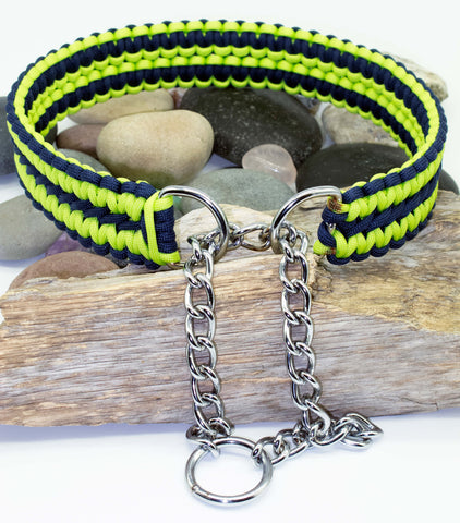Martingale Dog Collar - Navy Blue & Lime Green