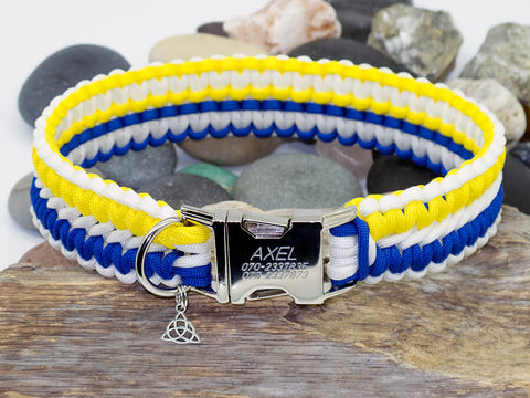 Apollo Paracord Dog Collar - Yellow, White & Blue