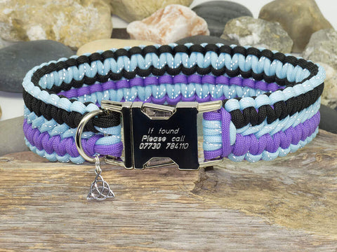 Paracord Dog Collar - Crystal Blue, Purple and Black