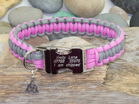 Paracord Dog Collar Rose Pink & Silver Grey - Cobra Style