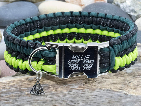 Paracord Dog Collar - Reflective Black and Two Tone Green