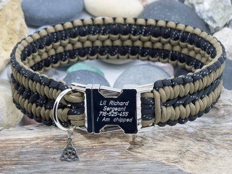 Reflective Paracord Dog Collar - Black and Coyote Brown