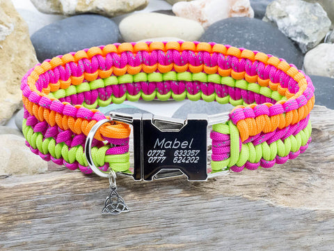 Paracord Dog Collar - Pink, Neon Orange and Lime Green