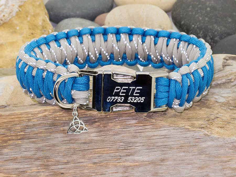 Reflective Grey and Sky Blue Paracord Dog Collar