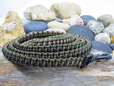 Reflective Black, Brown & Green Paracord Dog Lead with Black Snap Lock