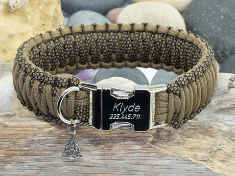 Khaki Snake & Brown Paracord Dog Collar