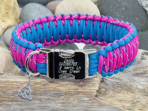 Paracord Dog Collar - Reflective Dark Pink and Sky Blue