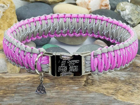 Engraved Paracord Dog Collar Reflective Bright Pink & Grey