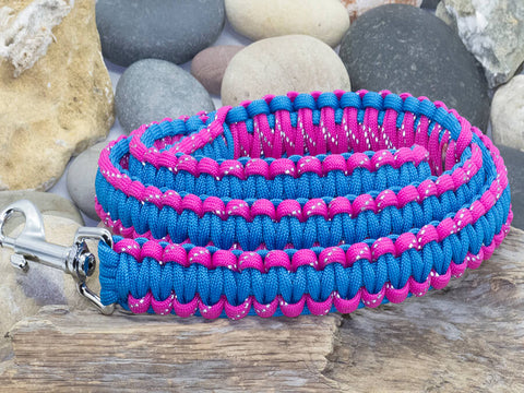 Reflective Dark Pink & Sky Blue Paracord Dog Lead