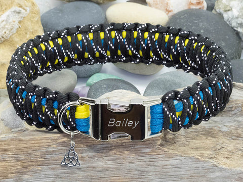 Reflective Black, Sky Blue & Yellow Paracord Dog Collar