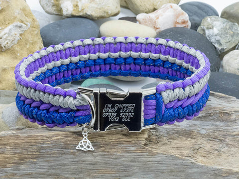 Apollo Paracord Dog Collar - Reflective Silver & Blue with Dark Purple