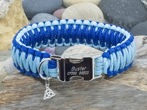King Cobra Paracord Dog Collar - Two Tone Reflective Blue
