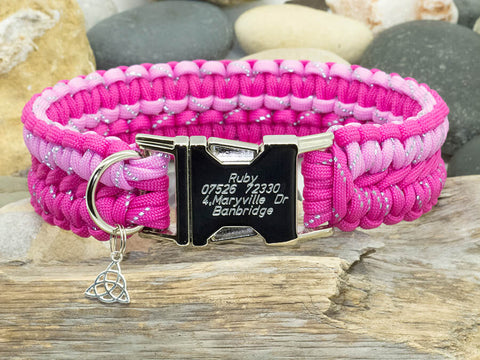 Two Tone Reflective Pink Paracord Dog Collar