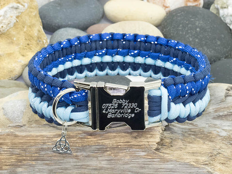 Paracord Dog Collar Navy Blue and Two Tone Reflective Blue