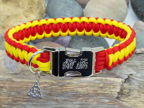 Red and Yellow Cobra Paracord Dog Collar