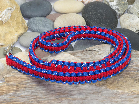 Reflective Blue and Red Paracord Dog Lead