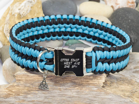 Turquoise and Black Dog Collar