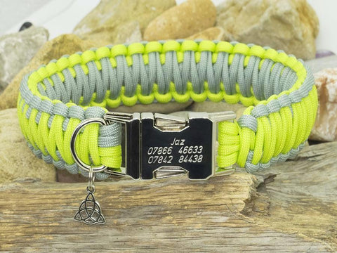 King Cobra Paracord Dog Collar - Lime Green and Silver Grey