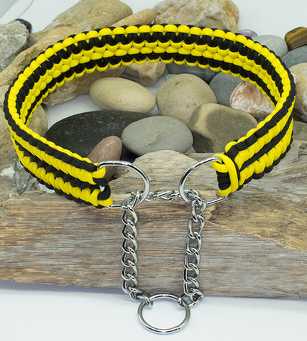 Martingale Paracord Dog Collar - Yellow and Black