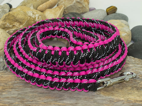 Reflective Dark Pink and Black Paracord Dog Lead