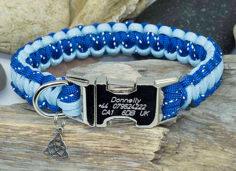Personalised Handmade Paracord Dog Collar Reflective Two Tone Blue