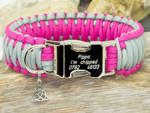 Handmade Dark Pink and Silver King Cobra Dog Collar