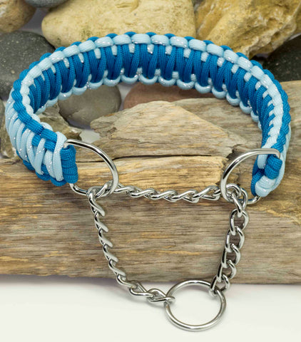 Martingale Dog Collar Two Tone Reflective Blue