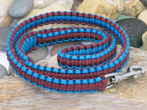 Handmade Maroon and Sky Blue Dog Lead