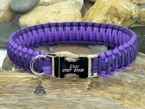 Luxury Two Tone Purple Paracord Dog Collar - Wide