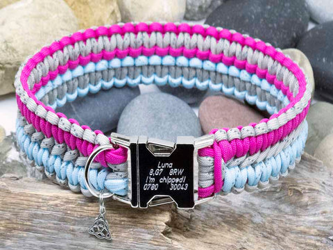 Reflective Grey, Crystal Blue and Dark Pink Apollo Dog Collar