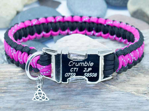 Personalised Handmade Paracord Dog Collar Reflective Dark Pink and Black
