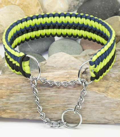 Lime Green, Navy Blue and Black Martingale Apollo Dog Collar