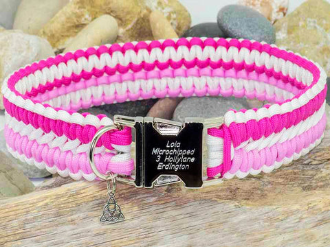 Apollo Paracord Dog Collar - White and Two Tone Pink