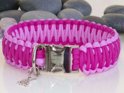 Luxury Two Tone Pink Paracord Dog Collar - Wide