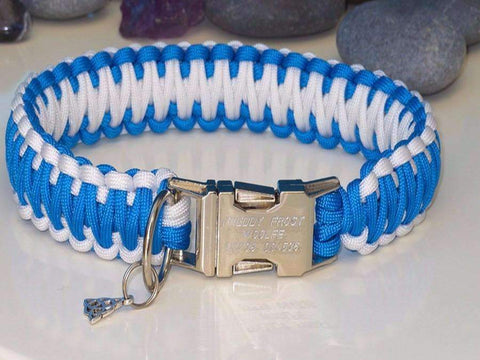 Sky Blue & White King Cobra Style Paracord Dog Collar