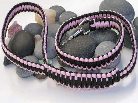 Pink & Black Paracord Dog Lead
