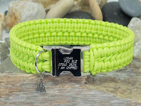 Apollo Lime Green Paracord Dog Collar