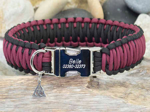 Personalised Paracord Dog Collar Maroon and Black
