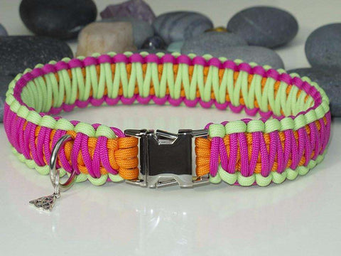 Neon Pink, Orange & Green Paracord Dog Collar