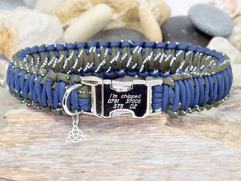 Personalised Dog Collar Navy Blue and Reflective Army Green