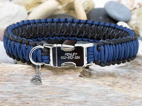 Personalised Dog Collar Navy Blue and Reflective Black