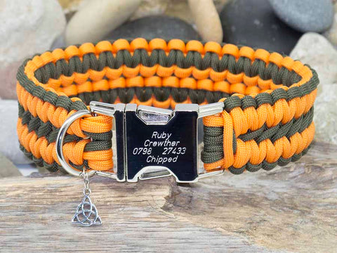 Khaki Green and Orange Apollo Paracord Dog Collar