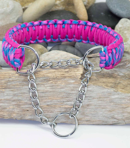 Handmade Martingale Dog Collar Pink-Sky Blue and Dark Pink