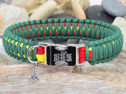 Personalised Engraved Dog Collar Red, Yellow and Green