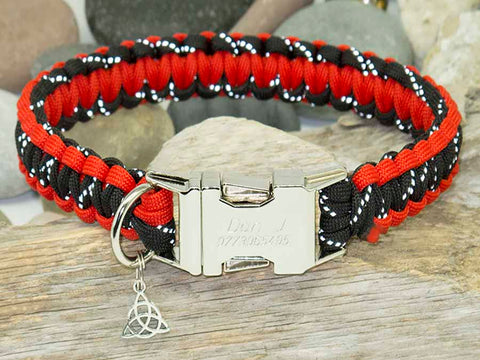 Paracord Dog Collar Reflective Black & Red - Cobra Style